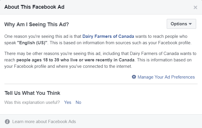 Fig.4: Facebook Ad Microtargeting Information