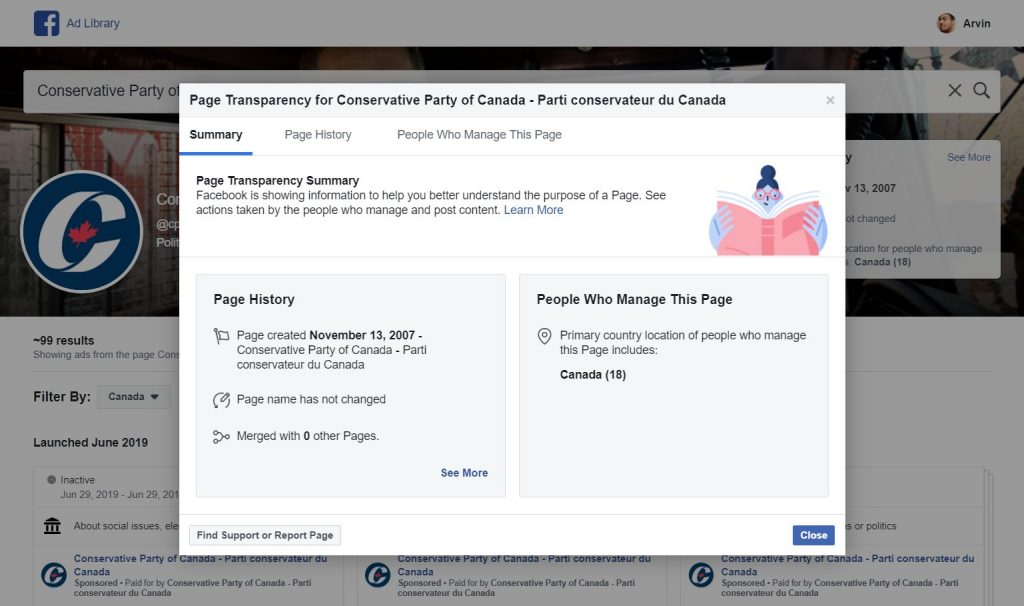 Fig. 3B Facebook Ad Library Page Transparency Information
