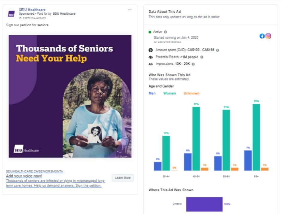 Figure 3: SEIU Healthcare Facebook advertisement and engagement statistics