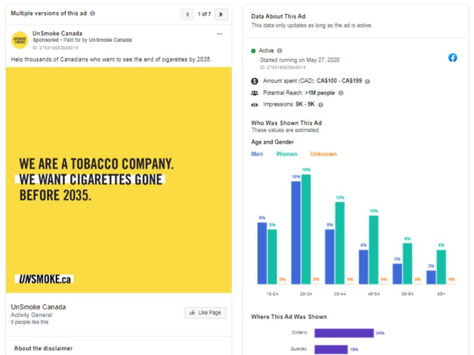 Figure 4: UnSmoke Canada Facebook advertisement and engagement statistics