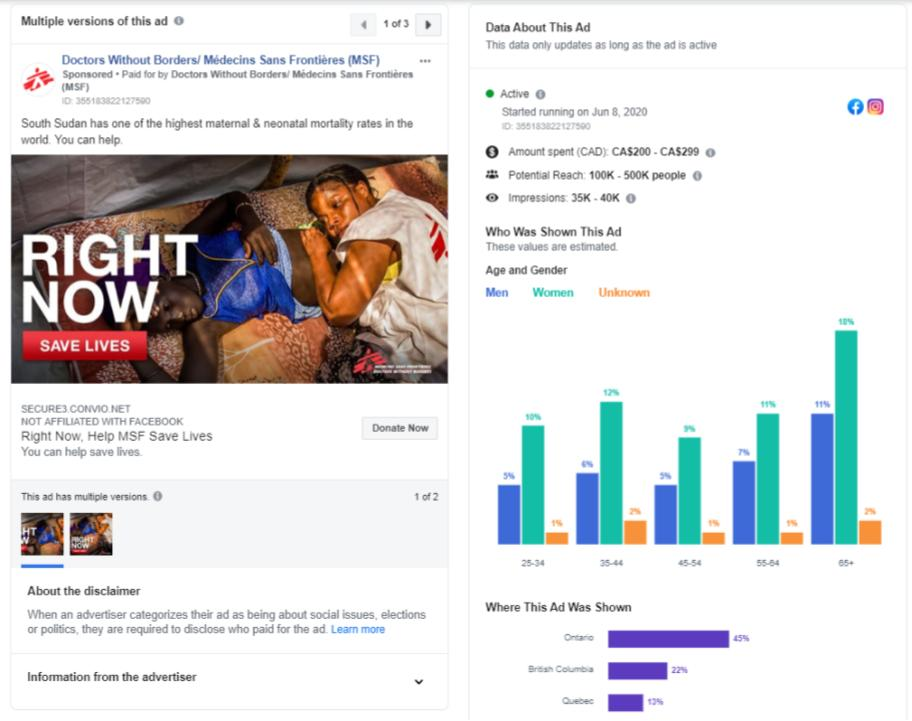 Figure 4: Doctors without Borders/Médecins Sans Frontières (MSF) Facebook advertisement and engagement stats